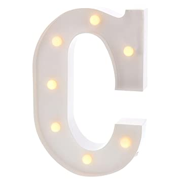 Barnyard Designs Metal Marquee Letter B Light Up Wall Initial Wedding Bar White Home and Nursery Letter Decoration 12/""