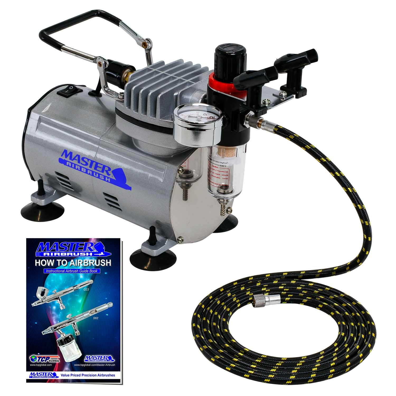 Master Airbrush Compressor with Water Trap and Regulator, Now Includes a (FREE) 6 Foot Airbrush Hose and a (FREE) How to Airbrush Training Book to Get You Started by Master Airbrush