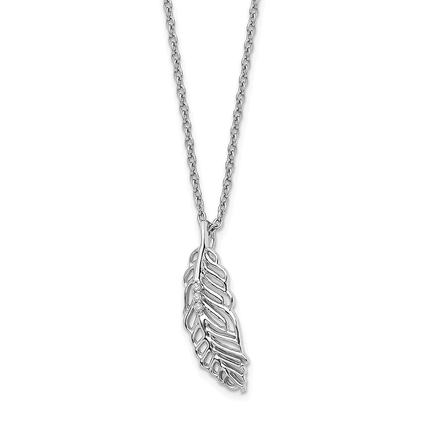 Sterling Silver White Ice Diamond Feather 18 Inch 2 Inch Ext Necklace18 Inches 0.02 cttw, I1-I3 Clarity, I-J Color