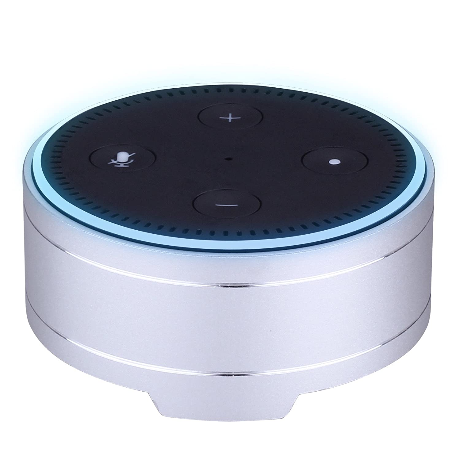 Aluminum Round Speaker Dot Cover - Protective and Durable Speaker Stand Holder Case for  Echo Dot 2nd and 1st Generation, 3.3' Round Speakers(Silver) 3.3 Round Speakers(Silver) AndThere