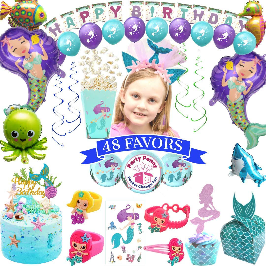 Mermaid Party Supplies - with Mermaid Party Favors Headband Purple Teal Balloons Cake Topper Plates Cup Napkin Balloons Under the Sea Little Mermaid Pool Birthday Party Theme Baby Shower Decorations