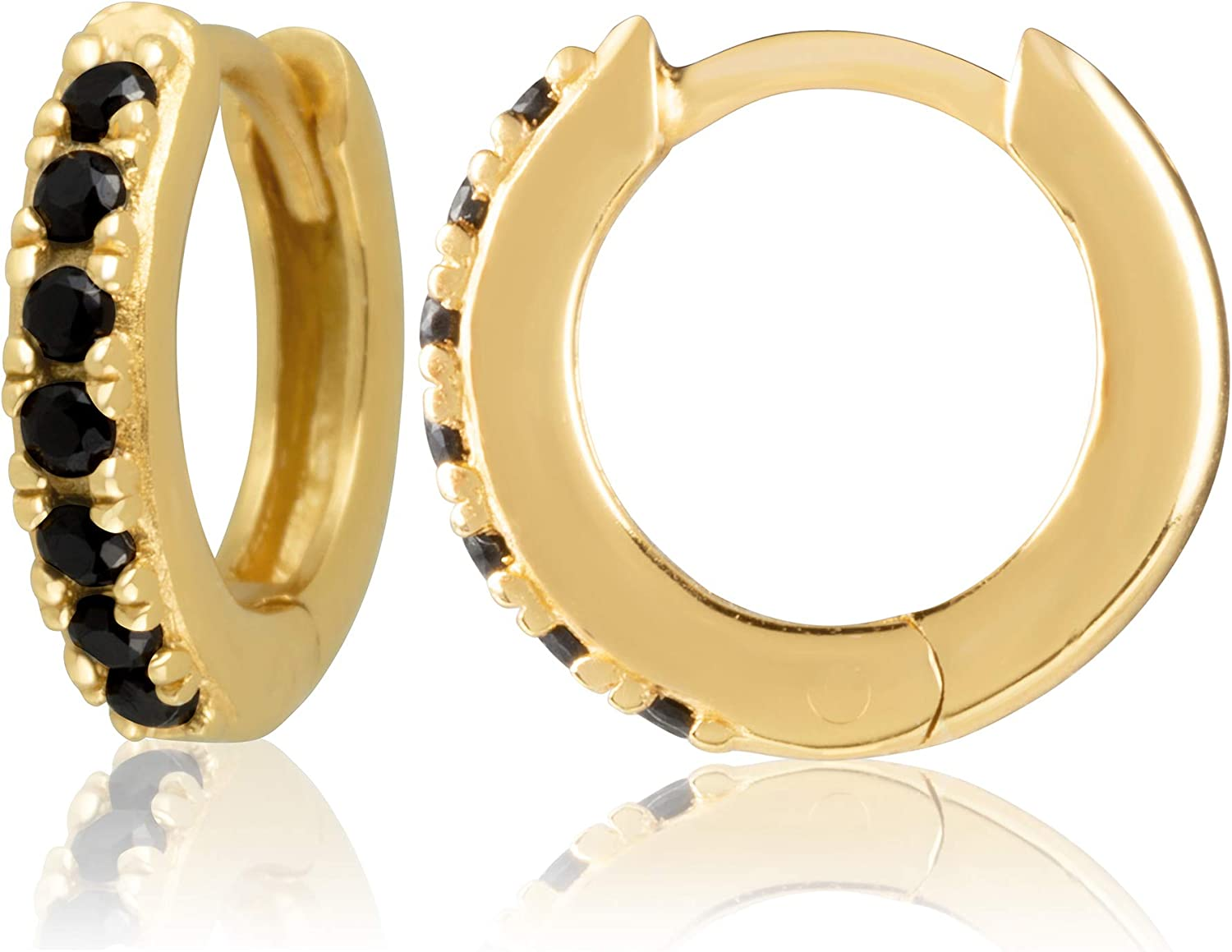 18K Yellow Gold Plated Sterling Silver Huggie Earrings with Stones for Women – Assortment of Designs and Stone Colors Available