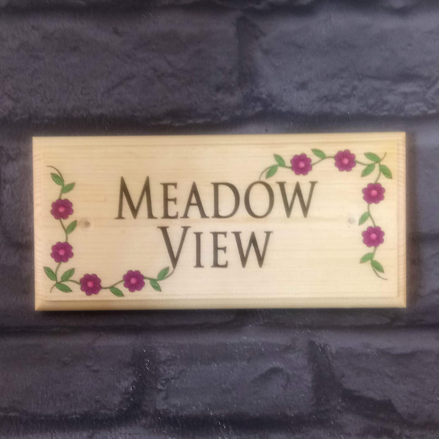 Personalised Flower Border Plaque/Sign / Gift/Handmade Wooden House Name Number Home Garden Your Text Sign-Design-x