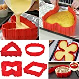 KOMIWOO Nonstick 4PCS Silicone Cake Mold Cake Pan Magic Bake Snake DIY Baking Mould Tools - Design Your Cakes Any Shape - Heart Butterfly Round Square - about 9 inch(22cm), 6 inch(17cm), 4 inch(11cm)