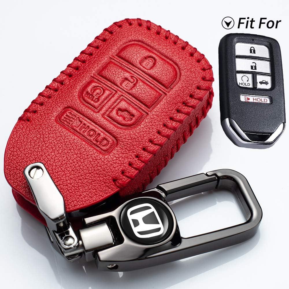 Genuine Leather Protector Keychain for HondaKeyless Remote Jacket for 2019 2018 2017 2016 2015 2014 2013 Honda Accord Civic Crosstour CR-V CR-Z Fit HR-V Odyssey Pilot Key fob Cover N//P Car Key Case