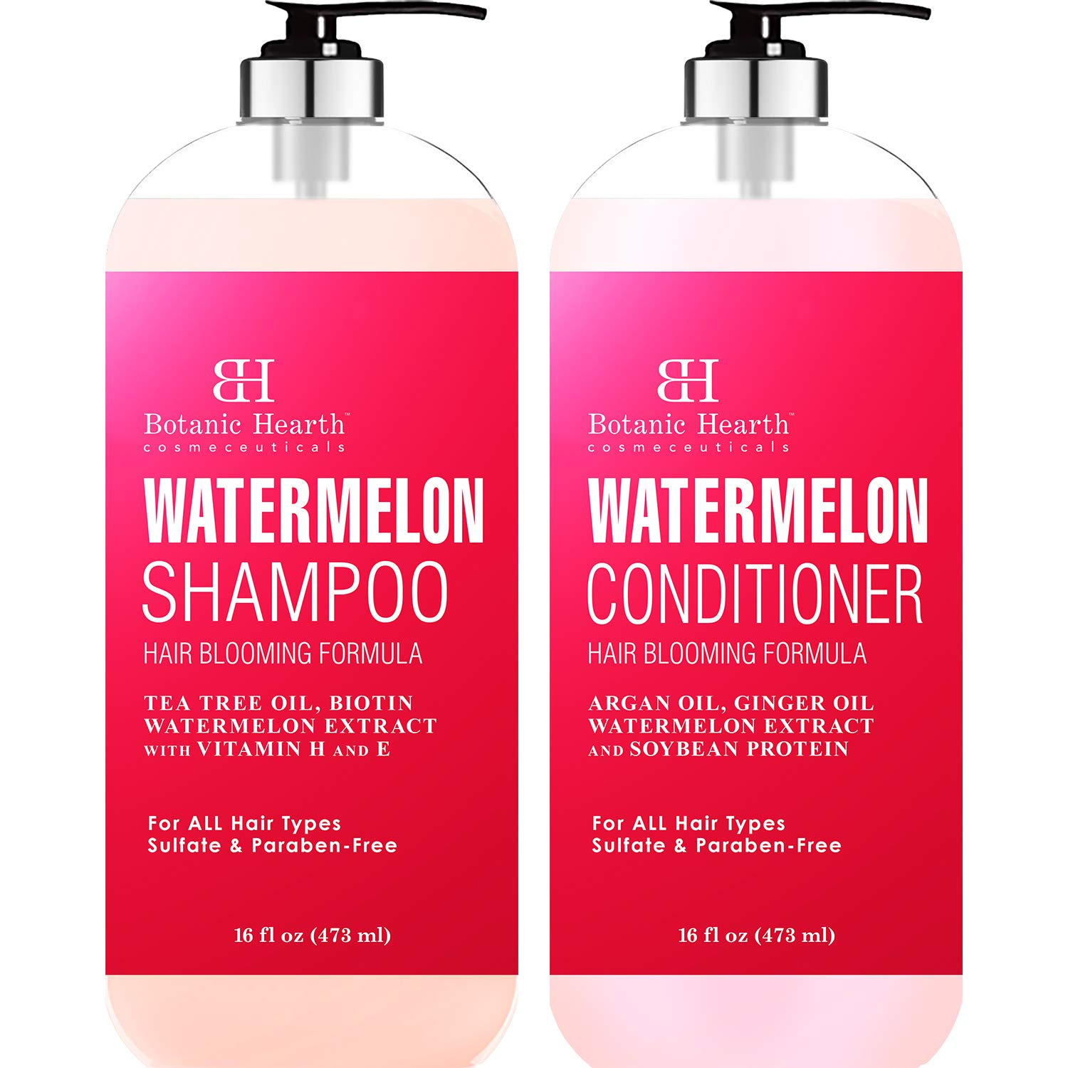 BOTANIC HEARTH Watermelon Shampoo and Conditioner Set - Promotes Hair Growth, Fights Hair Loss, Moisturizes, Sulfate & Paraben Free - for ALL Hair Types, for Men and Women - 16 fl oz x 2 by Botanic Hearth