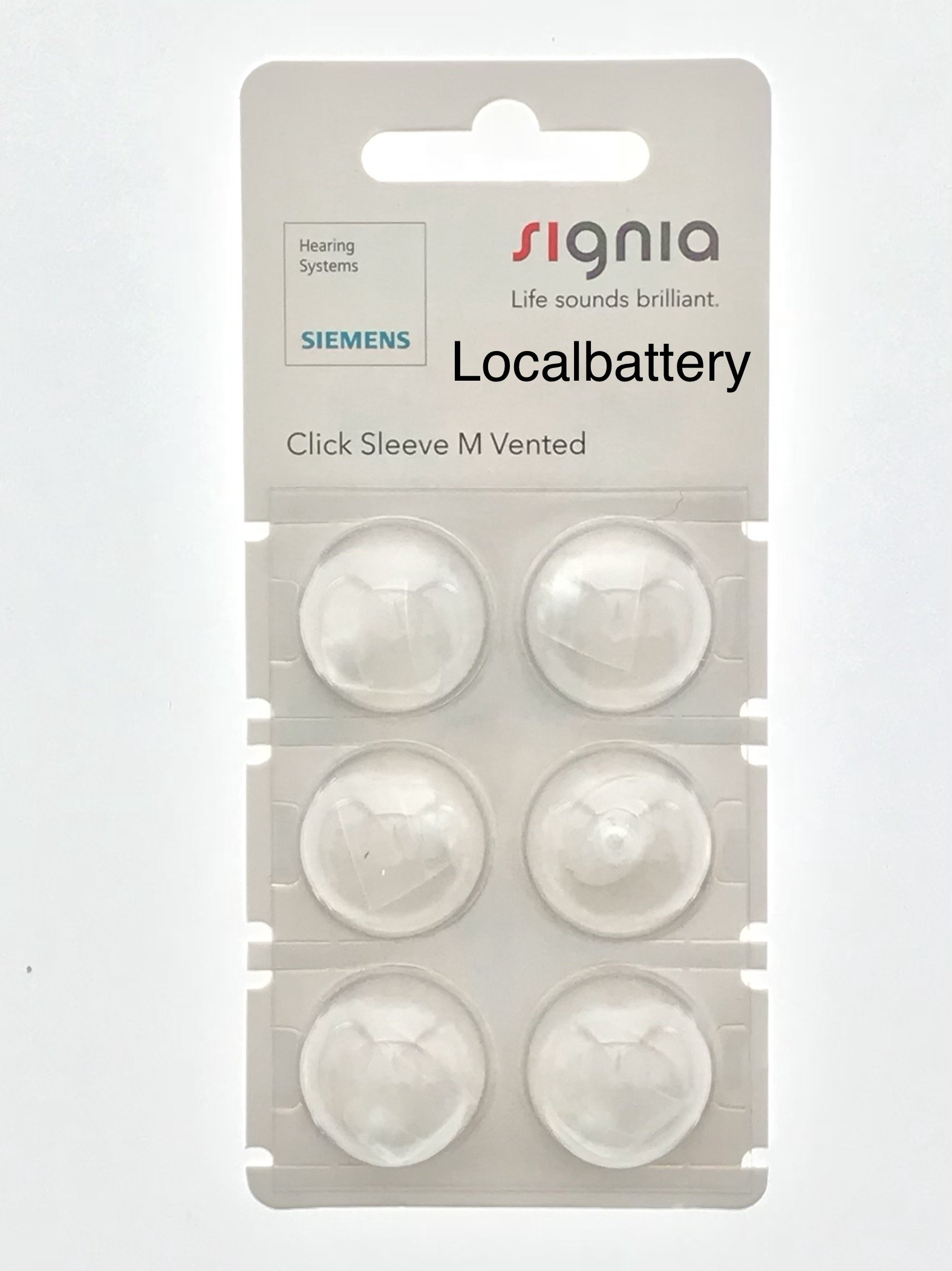 Siemens Signia Click Sleeve, Medium Vented for RIC and SILK Products