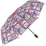 Parapluie femme pliant et léger - Parapluie mini Perletti - Parapluie femme compact de voyage parfait pour emporter dans le sac à main - Automatique - Diamètre 97 cm - Impression chats