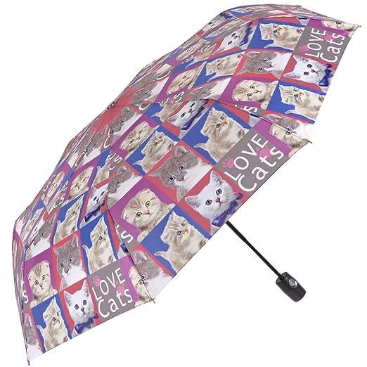 Paraguas de Mujer Gatos/Perros, Plegable y Ligero - Mini Perletti - Paraguas de Mujer Compacto, de Viaje y para Bolso - Automático - 96 cm de diámetro ...