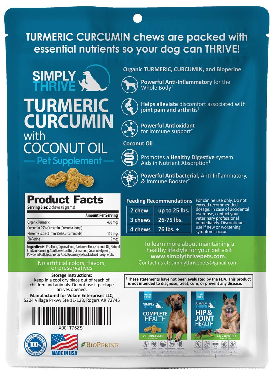 Turmeric Curcumin Supplement for Dogs | 90 ct Soft Chew Treats | Helps With Mobility Hip Joint & Arthritis | Coconut Oil Aids Digestion and Immunity | Natural Source of Antioxidant, Antiinflammatory 3