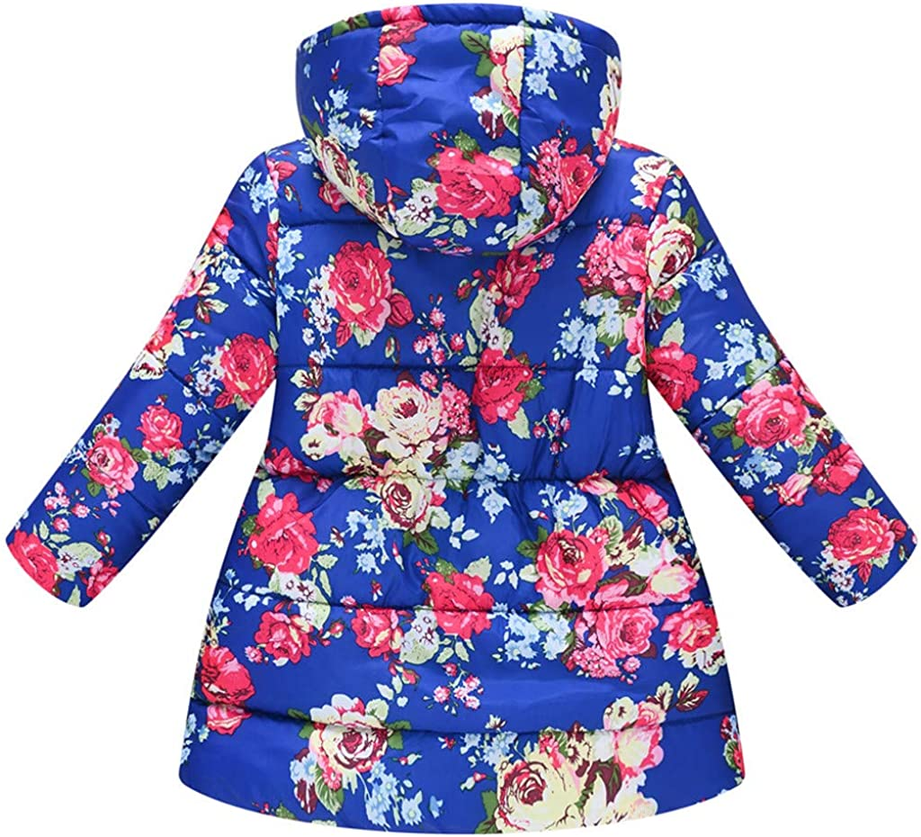 Toddler Girls Children Winter Clothes Hooded Windproof Coat 3-8 Years Old Kids Floral Midweight Jacket