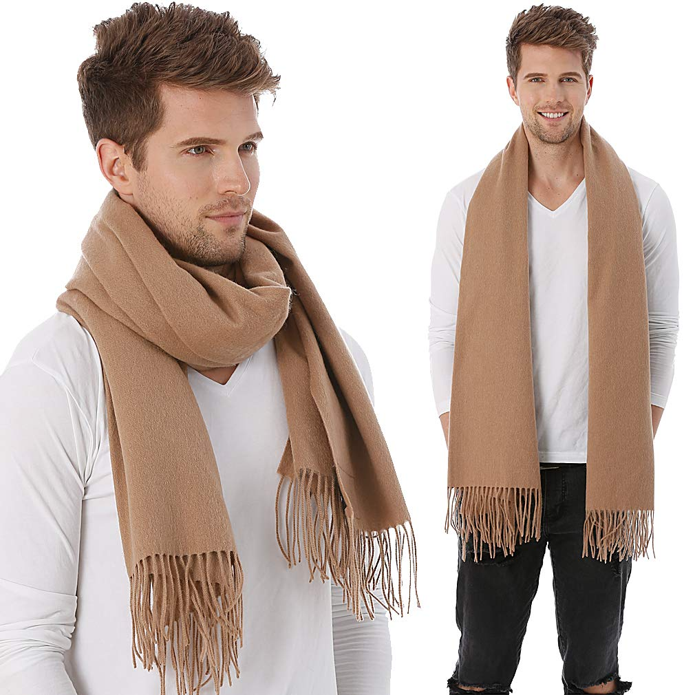 FORBUSITE Men Winter Scarf,Soft Knit Scarves With Tassel EW001