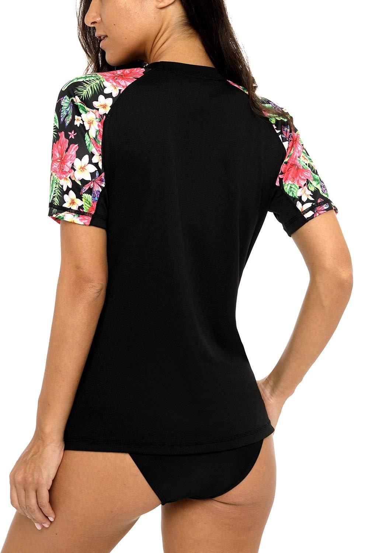 Vegatos Women Blask Swim Shirt Short Raglan Sleeve Rash Guards Floral Swimwear by Vegatos (Image #6)