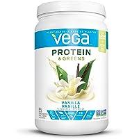Vega Protein & Greens Vanilla (21 Servings, 1.35 lb 614g) - Plant Based Protein Powder, Gluten Free, Non Dairy, Vegan, Non Soy, Non GMO