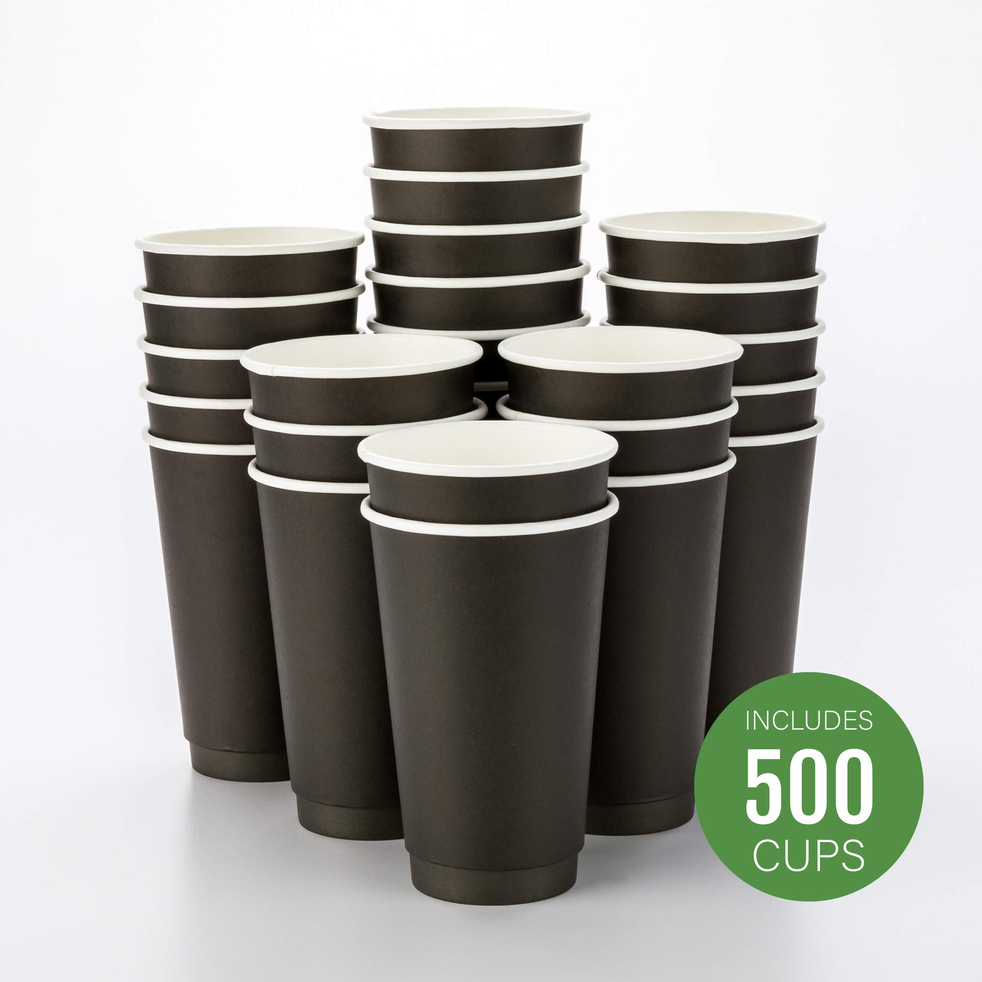 500-CT Disposable Black 16-oz Hot Beverage Cups with Double Wall Design: No Need for Sleeves - Perfect for Cafes - Eco Friendly Recyclable Paper - Insulated - Wholesale Takeout Coffee Cup by Restaurantware