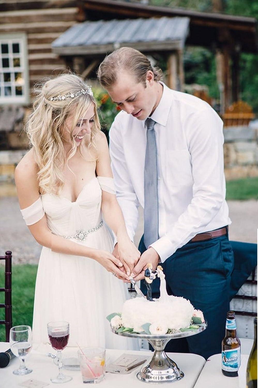 Elley Womens Sweetheart Off Shoulder A Line Beach Wedding Dress