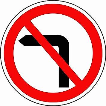 Etiqueta - Seguridad - Advertencia - Tráfico por carretera Sin señal de giro a la izquierda Canal por detrás montaje en poste 30x30cm - oficina, empresa, escuela, hotel: Amazon.es: Bricolaje y herramientas