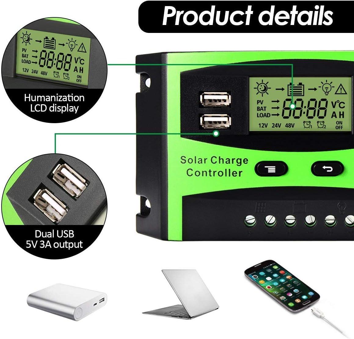 Yencoly Controlador de Carga Solar trif/ásico de 12V//24V con Panel de celda Doble USB para Sistema de energ/ía Solar 20A