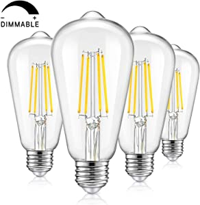 Vintage LED Dimmable Edison Light Bulbs 100W Equivalent, 1200Lumens, E26 Base LED Filament Bulbs, 5000K Daylight White, ST64/ST21 Antique Clear Glass Style for Home, Reading Room, Bathroom, 4-Pack