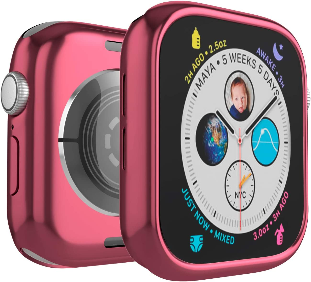 Case for Apple Watch 44mm Series 6 Series SE Series 5 Series 4 Edge 360x Bumper Protection Soft TPU Ultra-Slim Lightweight Resistant Protective Case Cover (Pink)