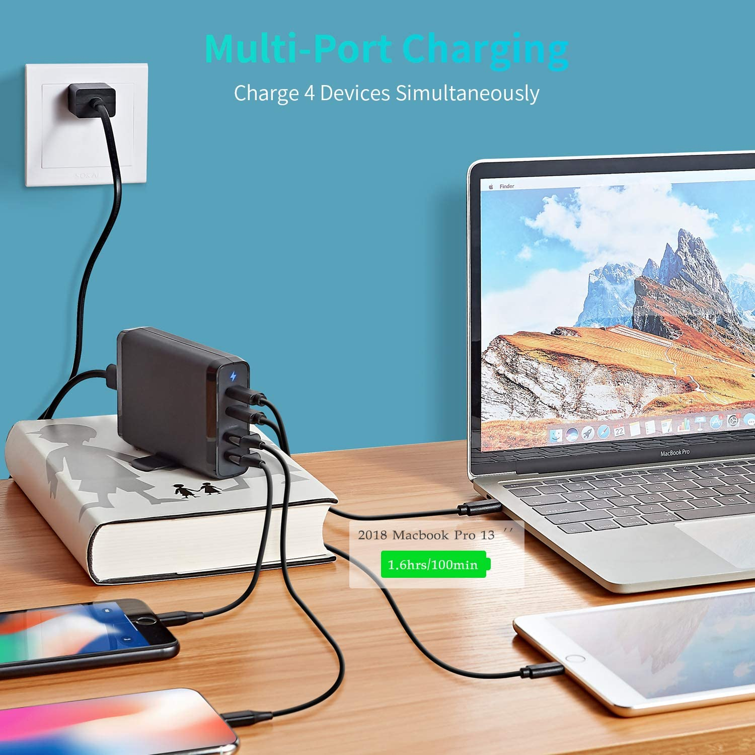 with 60W /& 18W USB C PD Power Delivery Adapter and 2 USB A Ports 12W USB C Wall Charger 4-Port