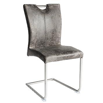 Freischwinger Stuhl BUFFALO Vintage Grau Mit Edelstahlgestell Esszimmer  Stuhl