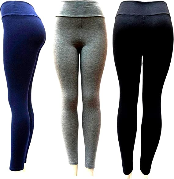 David-k Womens Leggings Yoga Pants with Solid Waistband ONE Size Cotton Spandex