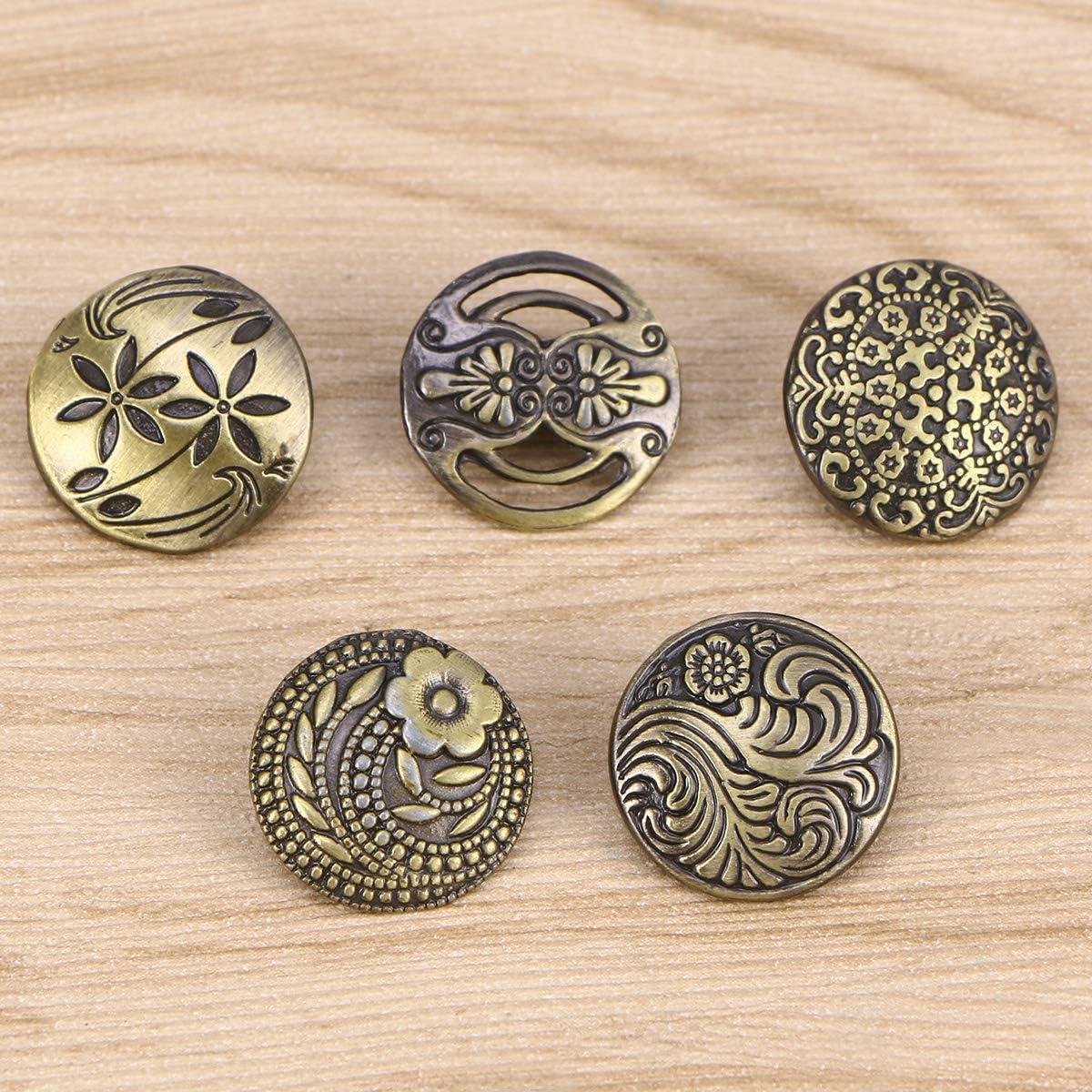 supvox Botones Vintage Botones decorativos mixtos Retro Bronce antiguo grabado con forma de Flor Botones Cuadrados redondos para costura y elaboraci/ón 50/piezas