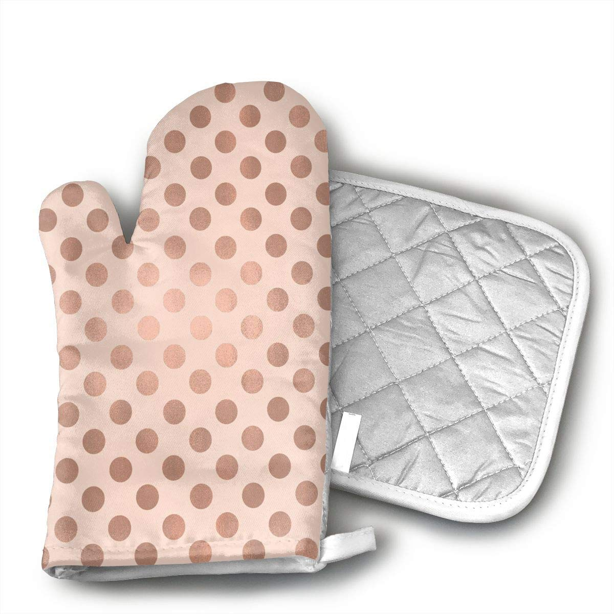 LALABULU Oven Mitts Rose Gold Dog Pattern Non-Slip Silicone Oven Mitts, Extra Long Kitchen Mitts, Heat Resistant to 500Fahrenheit Degrees Kitchen Oven Gloves