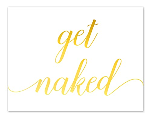 Get Naked Funny Bathroom Sign Gold Foil Print Girly Wall Art Rose Gold Bathroom Home Decor