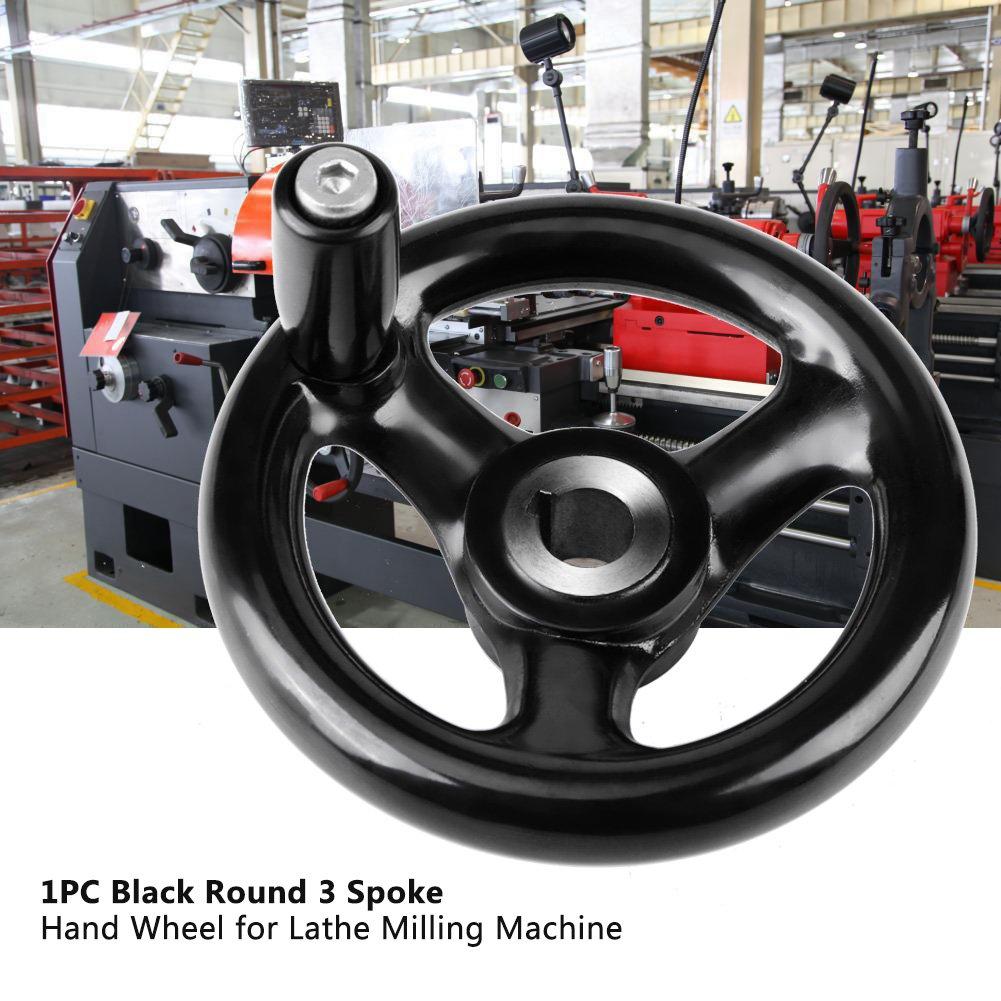 rueda de mano de baquelita de madera de fresado con torno antideslizante de 3 radios Rueda de mano de baquelita de 12 para reemplazo de accesorios de maquinaria 100 mm