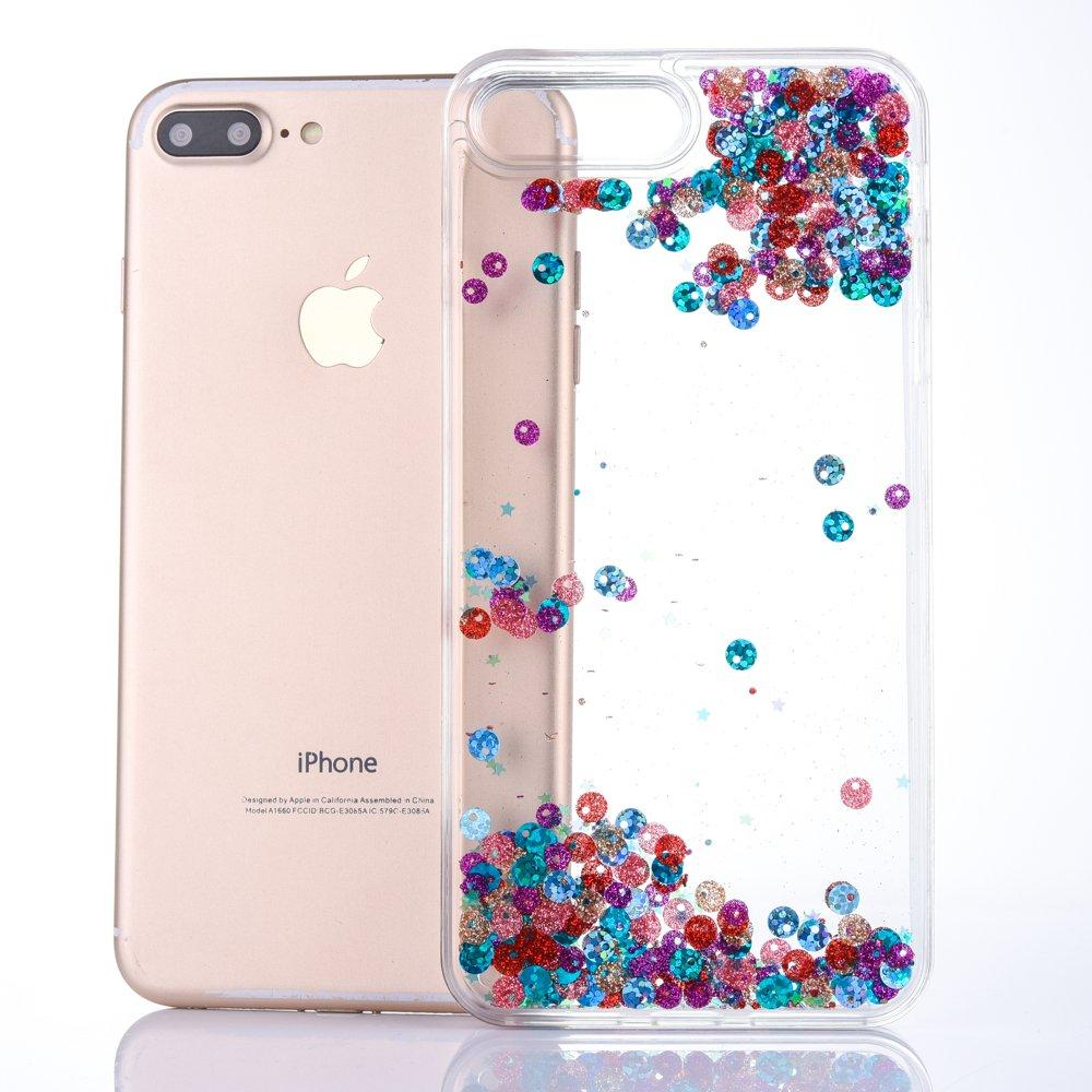 cd245aca2d Amazon.co.jp: iPhone7 ケース iPhone8 ケース 多彩な流砂ケース 流れる透明液体ケース かっこいい流動感 衝撃吸収  滑り防止 擦り傷防止 キラキラ おしゃれ TPU ...
