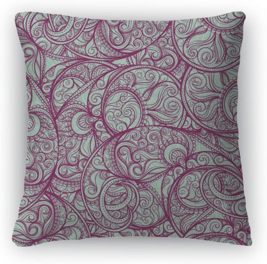 Gear New Purple Paisley Pattern Throw Pillow with Removable Cover, Poplin, 26×26, GN1768