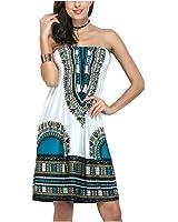 Setucamp Womens Bohemian Vintage Tube Dress Boho Strapless Dress Sexy Summer Beachwear