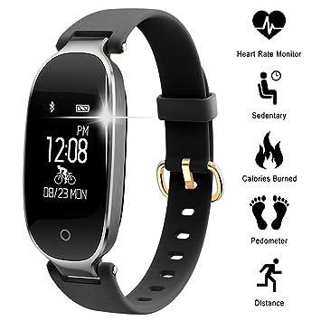 Pulsera Monitor de Actividad Pulsómetro y Podómetro para Mujeres Impermeable IP67, con Bluetooth Contador de
