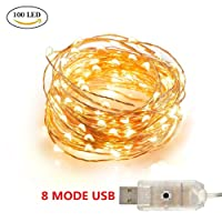 Led Fairy Lights, Makion 10M 100 LED 8 Modes USB Operated Copper Wire String Lights for Home Party Birthday Garden Festival Wedding Christmas Indoor Outdoor Use(Warm White)