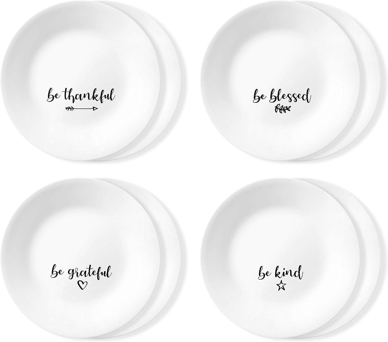 Corelle Chip Resistant 8 Pack Appetizer Plates, 8-Piece, Sentiments