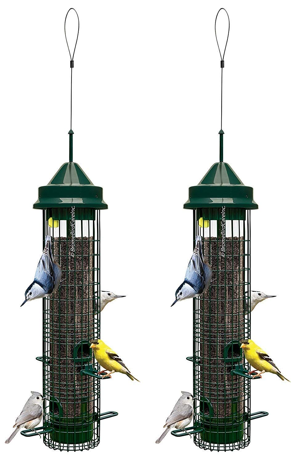 Squirrel Buster Classic 5.3''x5.3''x32'' (w/hanger) Wild Bird Feeder with 4 Feeding Ports, 2.4lb Seed Capacity, 2 Pack
