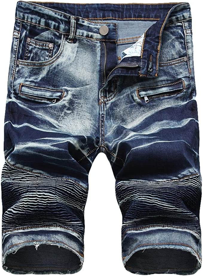 SELX Men Straight Leg Stretch Slim Fit Denim Shorts Cropped Pants Jeans