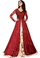 Active Women's Net & Georgette Embroidery Indo Western Suit (Red)