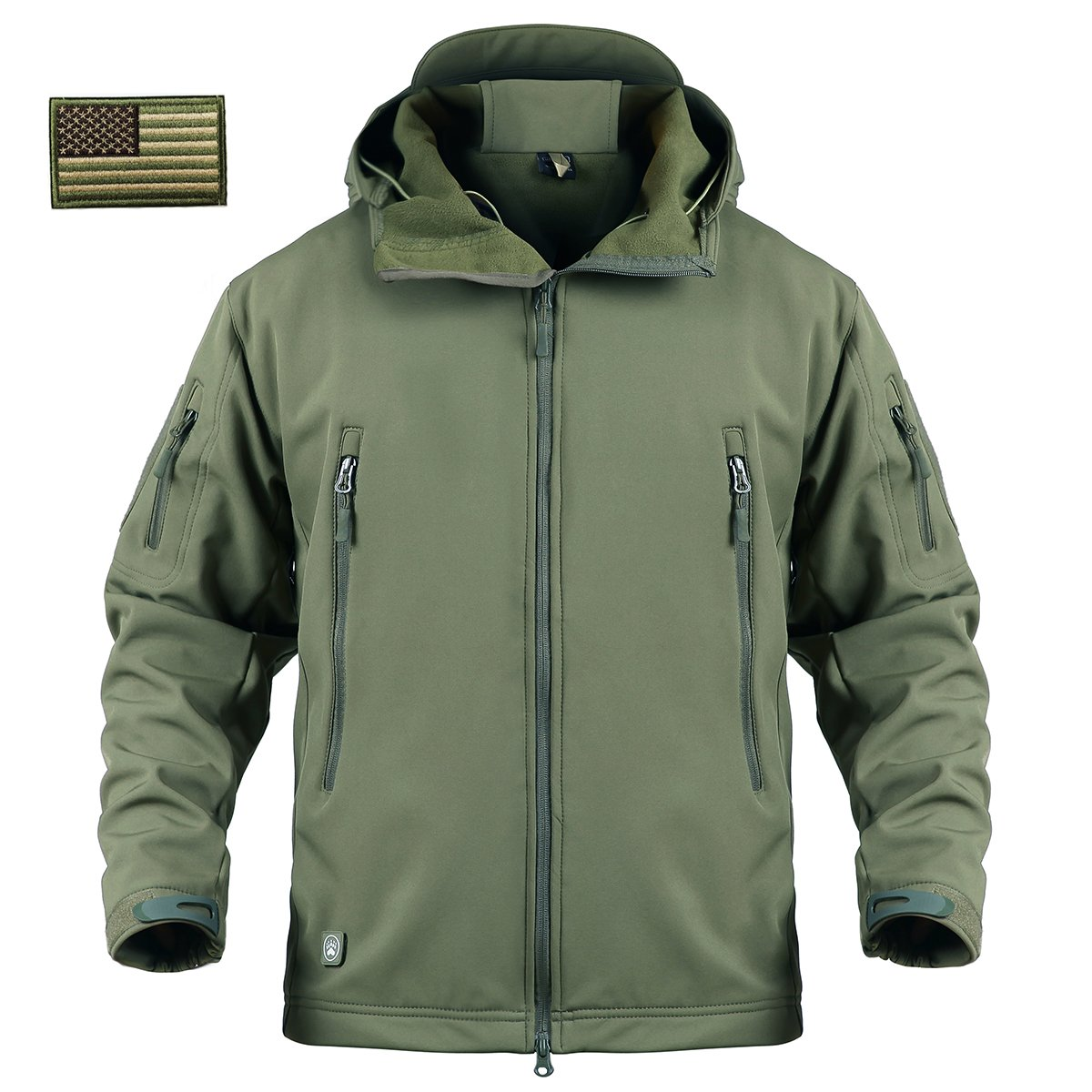 ReFire Gear Men's Army Special Ops Military Tactical Jacket Softshell Fleece Hooded Outdoor Coat, Army Green, Large by ReFire Gear