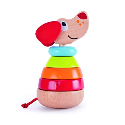 Hape Pepe Sound Stacker| Rainbow Wood Sound Stacker, Cute Puppy Animal Toy for Toddlers 12months and Up: Toys & Games