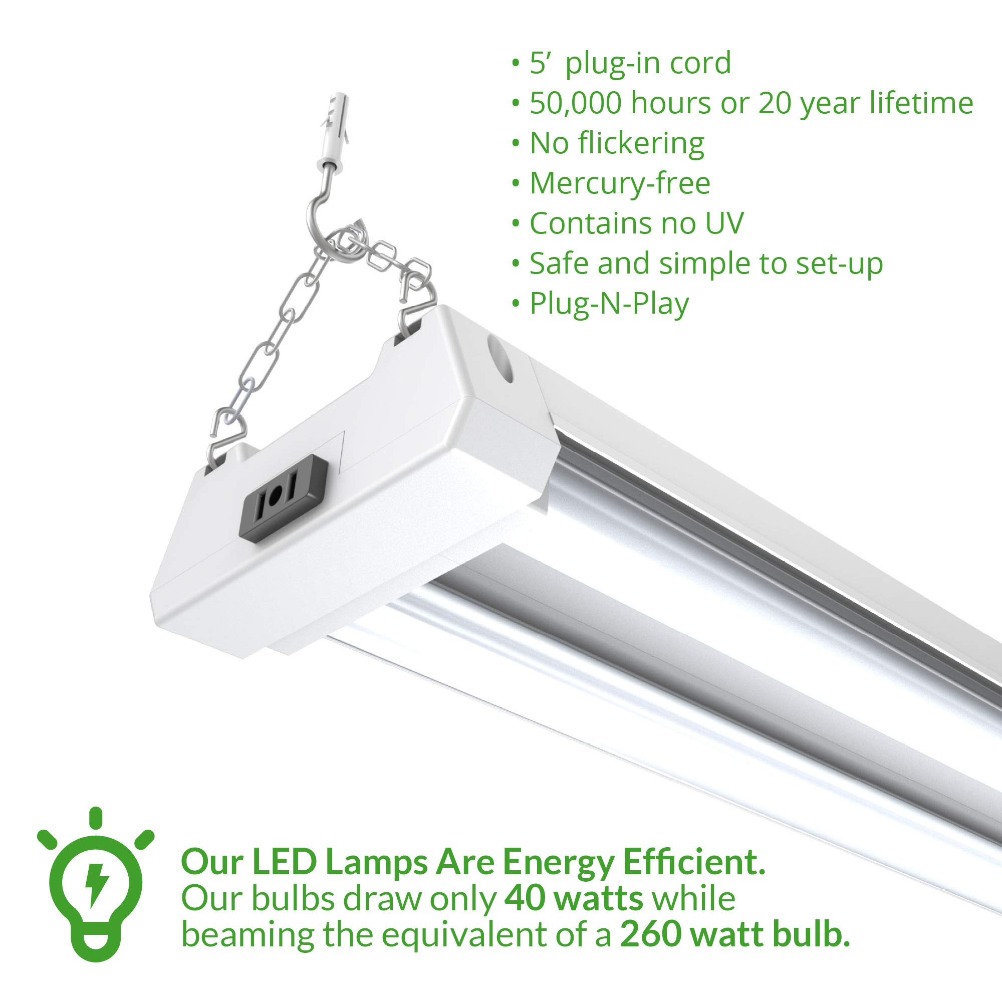 Sunco Lighting 4 Pack 4ft 48 inch LED Utility Shop Light 40W (260W Equivalent) 5000K Kelvin Daylight, 4000 Lumens, Double Integrated Linkable Garage Ceiling Fixture, Frosted - Energy Star/ETL Listed by Sunco Lighting (Image #4)