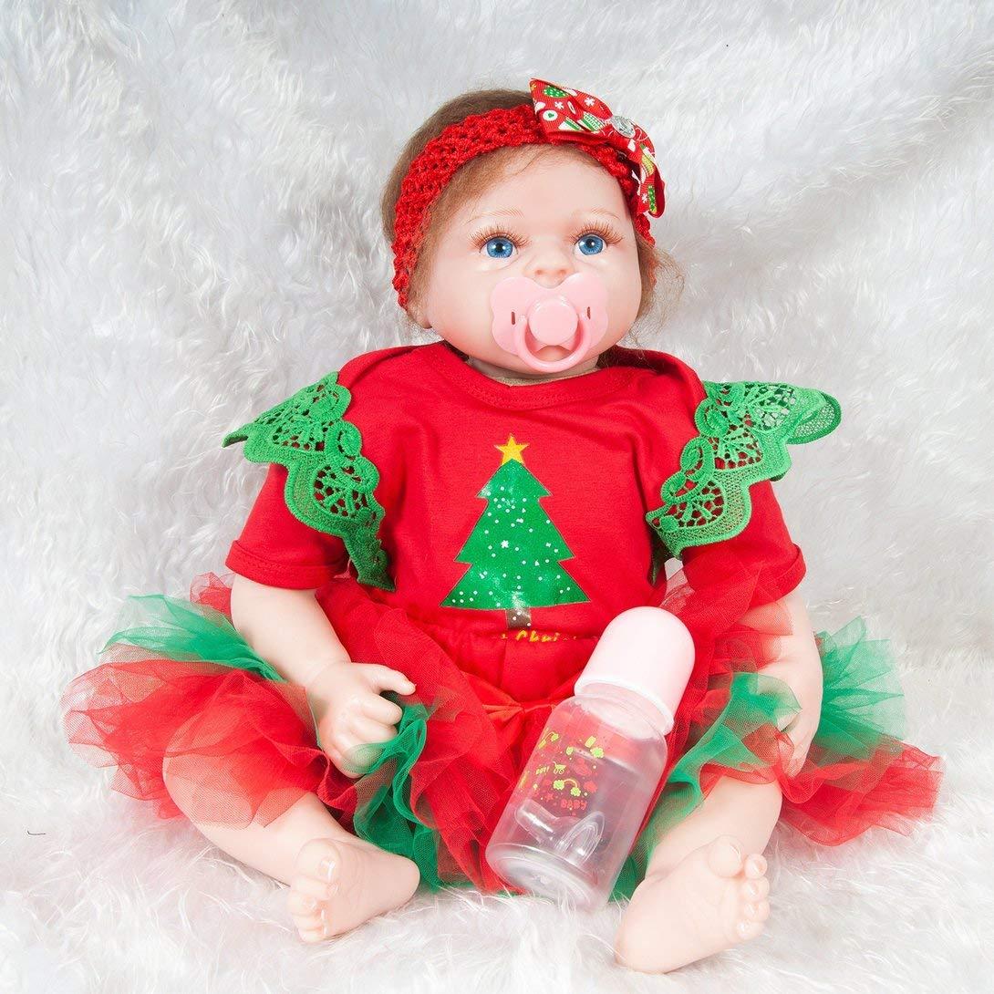Swiftswan 21,6 Zoll Reborn Baby Puppe Spielzeug Foto Requisiten lebensechte weiche Tuch körper Weihnachtsbaum Muster neugeborenen puppegeburtstag