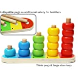 Wooden Stacking Rings Baby and Counting Game with 15 Rings - Stacking Rings - Counting Wooden Toys for 1 year old