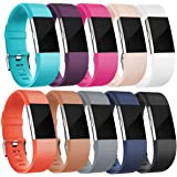HUMENN For Fitbit Charge 2 Strap, Charge 2 Bands Adjustable Replacement Sport Accessory Wristband for Fitbit Charge2 Small Large, 15 Colours