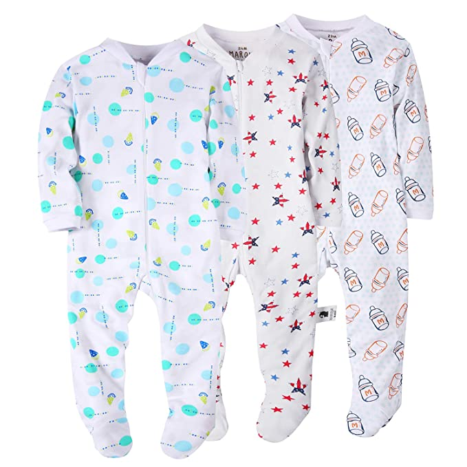 Marque Baby Girls Footed Pajama Zip Front 100/% Cotton Sleeper Size 3-24 Months