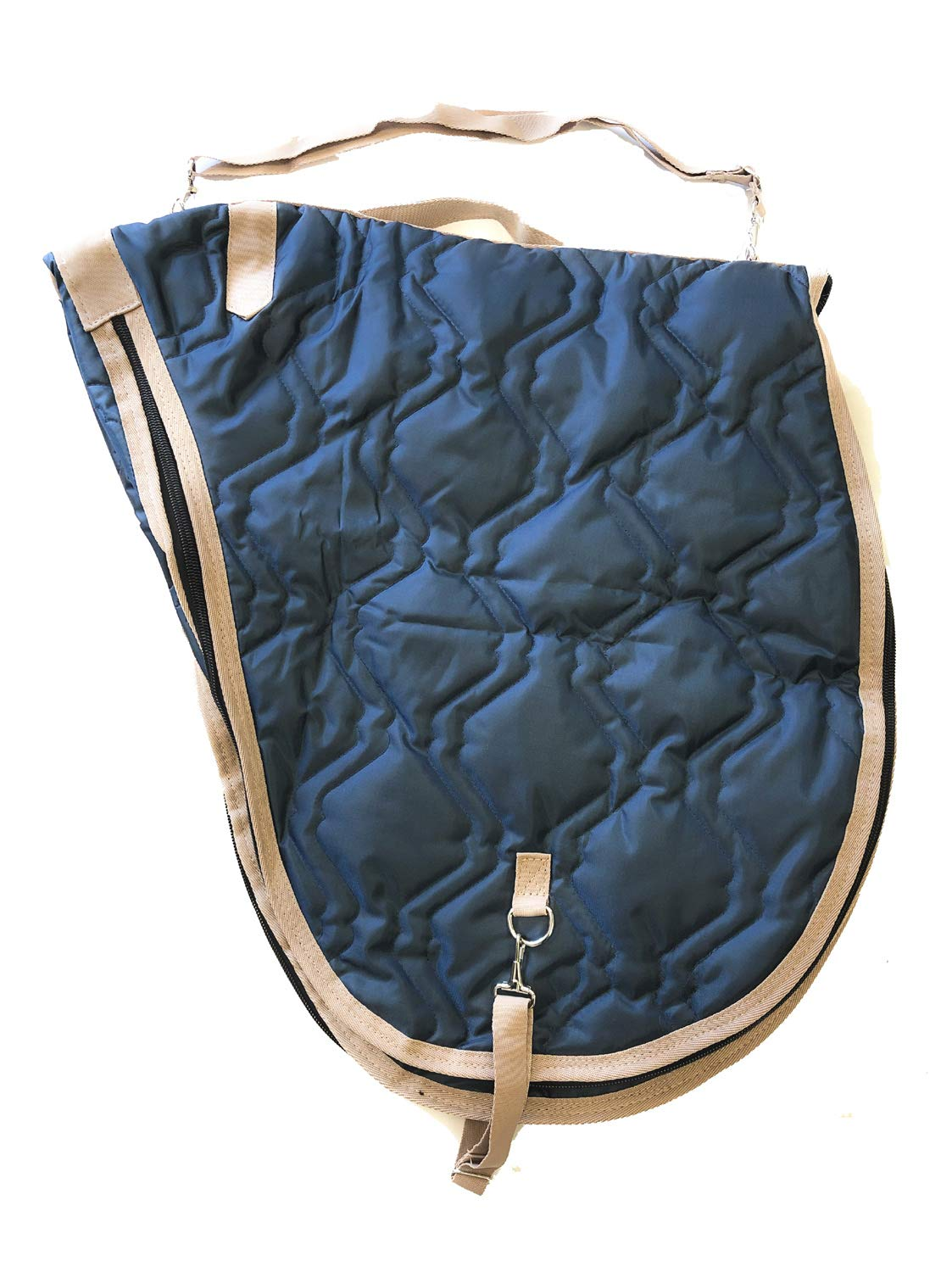 AJ Tack All Purpose English Horse Saddle Carrier Cover Travel Case Bag Padded Navy Blue