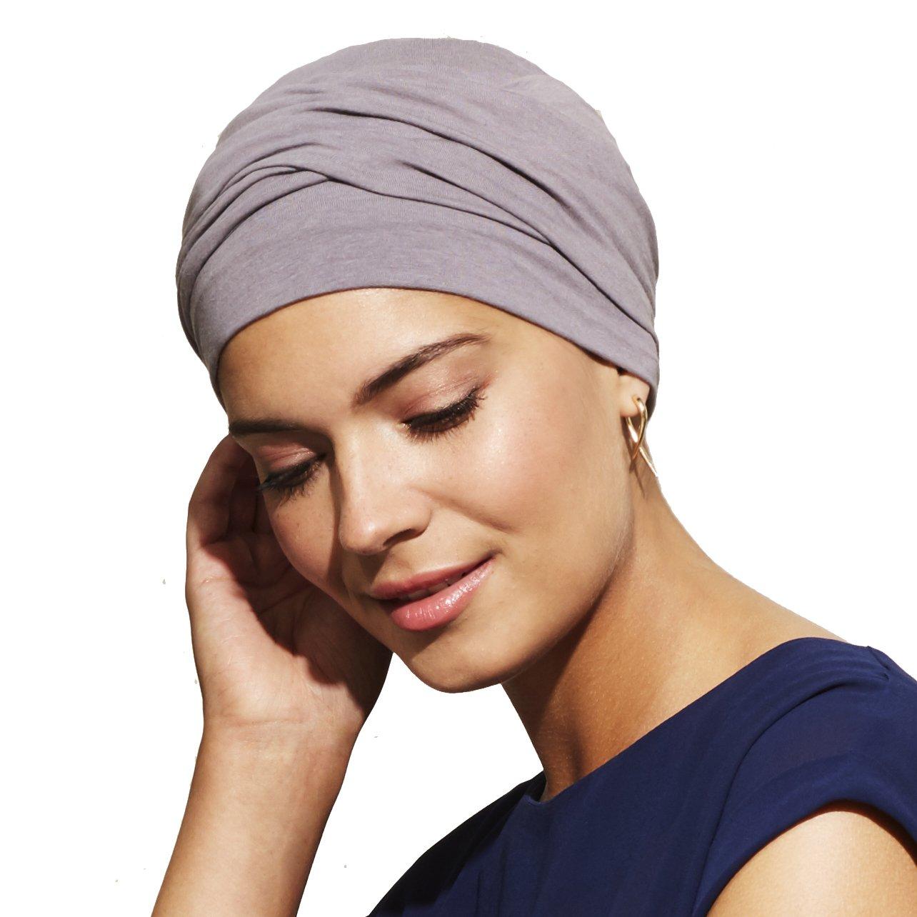 Turbante Zoya grigio viola per le donne con alopecia