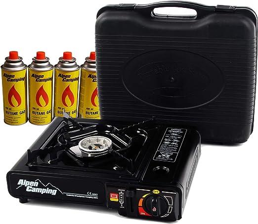 ALPEN CAMPING Hornillo de gas portátil + 4 cartuchos de gas + maletín.